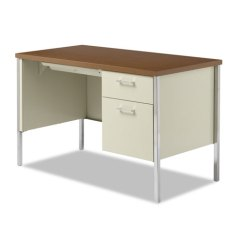 Alera Office Chair Dining Styles Antique Single Pedestal Steel Desk, Metal 45-1/4w X 24d 29-1/2h, Cherry/putty | Thegreenoffice.com