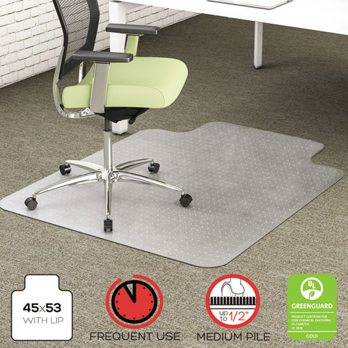 acrylic desk chair mats coleman oversized quad with cooler review floor thegreenoffice com environmat recycled anytime use mat med pile carpet 45x53 w lip clear