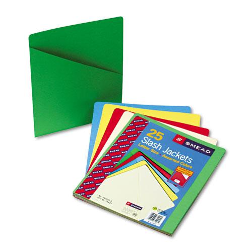Smead Slash Pocket Folders BlueGreenManilaRedYellow