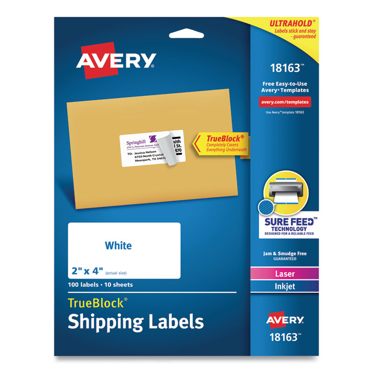 Microsoft word has several features you can customize, including templates that represent your personalized stationery. Ave18163 Avery 18163 Shipping Labels W Trueblock Technology Inkjet Printers 2 X 4 White 10 Sheet 10 Sheets Pack Hill Markes