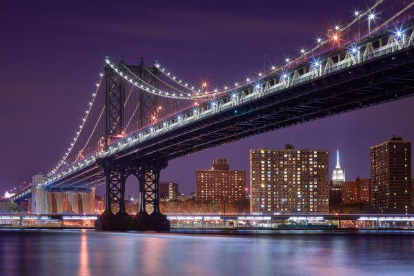 New York City Manhattan Bridge Night