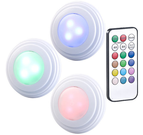 3 spots a led cob rvb blanc pour meubles de cuisine avec telecommande et minuterie ubl 6 rgbw
