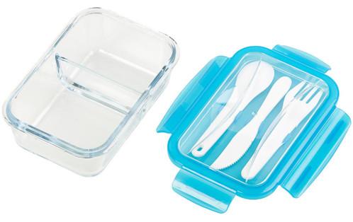 boite de conservation 20 c a 520 c en verre a 2 compartiments avec couverts