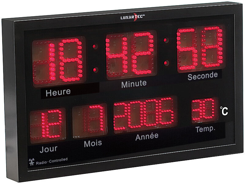 Horloge digitale murale radiopilote  LED rouges avec thermomtre  Pearlfr