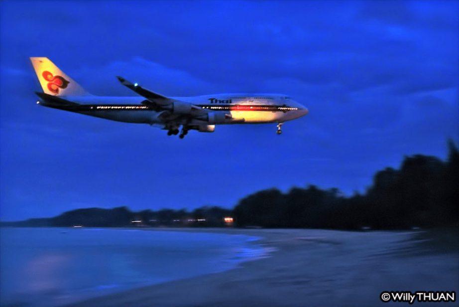 Landing at Phuket Airport at Night