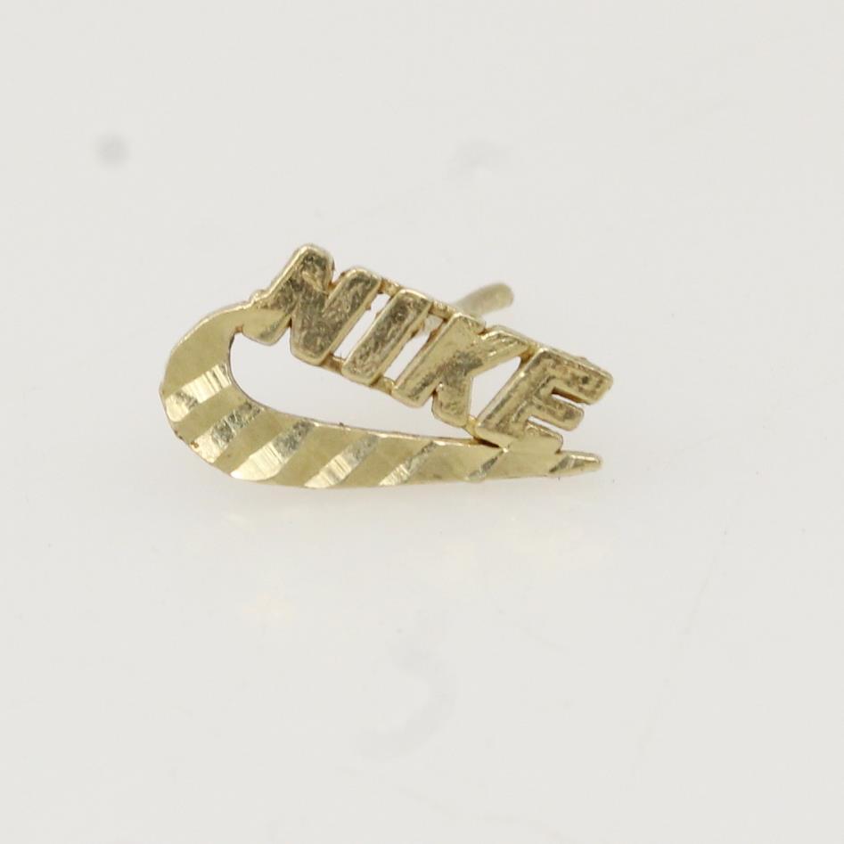 10kt Gold 0.3g Nike Logo Single Earring