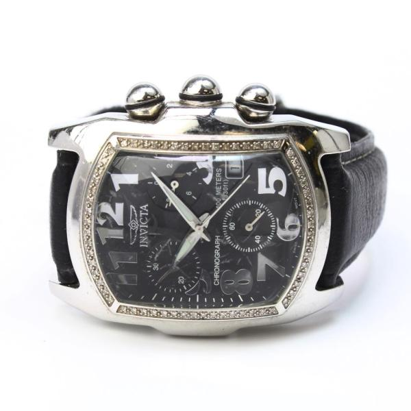 Invicta Lupah Diamond Chronograph Black Leather Watch