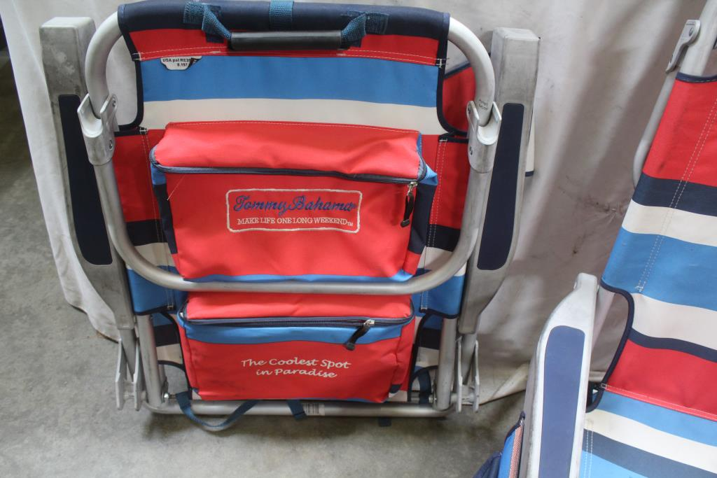 tommy bahama backpack cooler chair blue lower back support 2 items property room