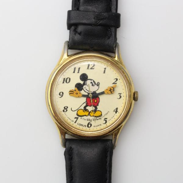 Vintage Lorus Disney Mickey Mouse Gold Tone And Black