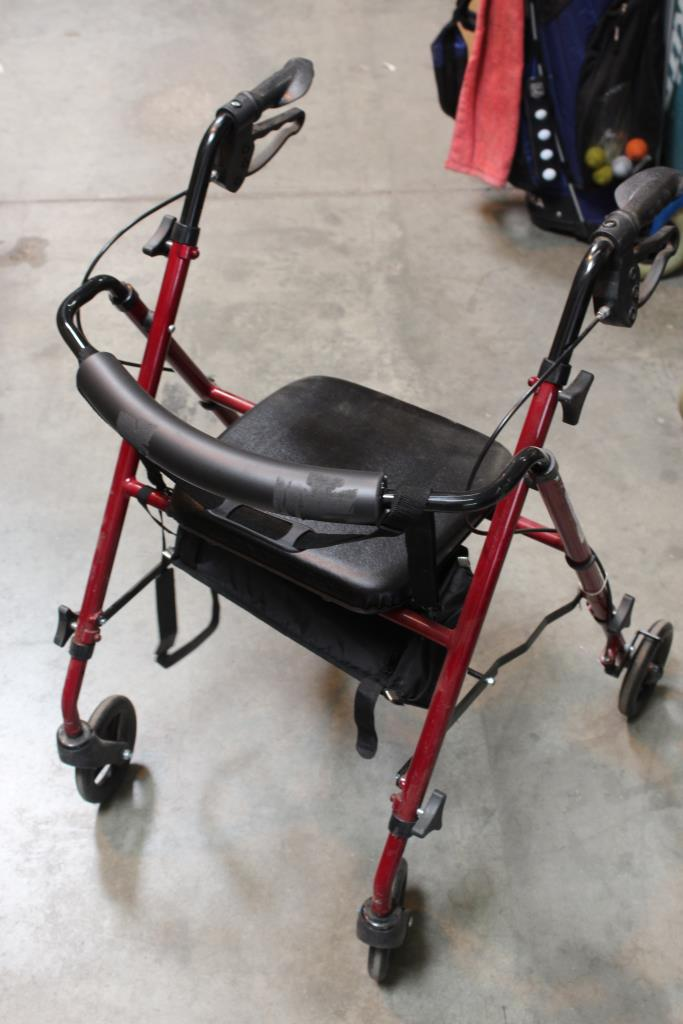 transport chair walgreens wicker chairs for children ultra light weight burgundy rollator image 1 of 3