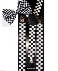 Black And White Checkered Suspenders and Bow Tie Combo Set ...