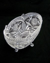 Vintage Oval Crystal Fruit Bowl