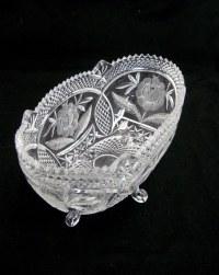 Vintage Oval Crystal Fruit Bowl