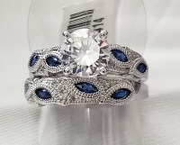No Reserve Simulated Diamond & Sapphire Wedding Engagement ...