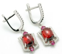 .925 Sterling Silver, Cabochon Ruby, Pink Sapphire & AAA ...