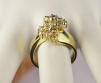 14K Yellow Gold Cluster Style Diamond Dinner Ring ...