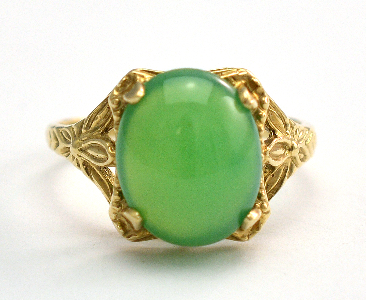 10K Yellow Gold 248 Grams Cabochon Cut Jade Ring