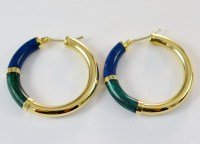 14K Yellow Gold Hollow Hoop Earrings With Blue and Green ...