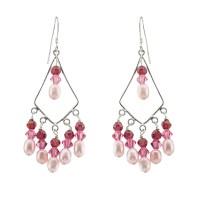Chandelier Pink Crystal And Pearl earrings | Property Room