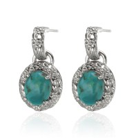 Sterling Silver 10x8mm Oval Turquoise Drop Earrings ...