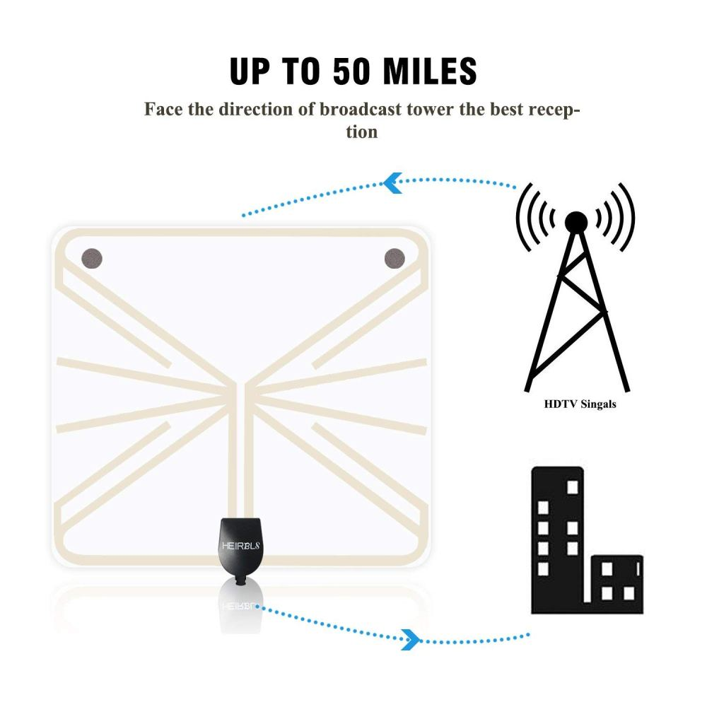 medium resolution of 50 mile tv antenna heirbls long range amplified hd digital tv antenna signal booster upgraded version 10ft coax cable transparent
