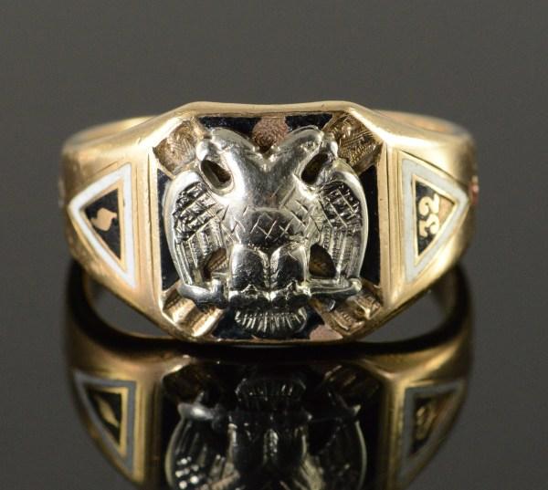 10k 11g Vintage Mason Masonic Eagle Men' Yellow Gold Ring