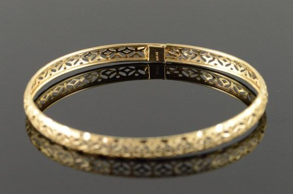 10k 3.8g Filigree Cut Bangle Yellow Gold Bracelet 2.3
