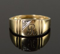 10K 5.3g Diamond R Monogram Initial Letter Men's Yellow ...