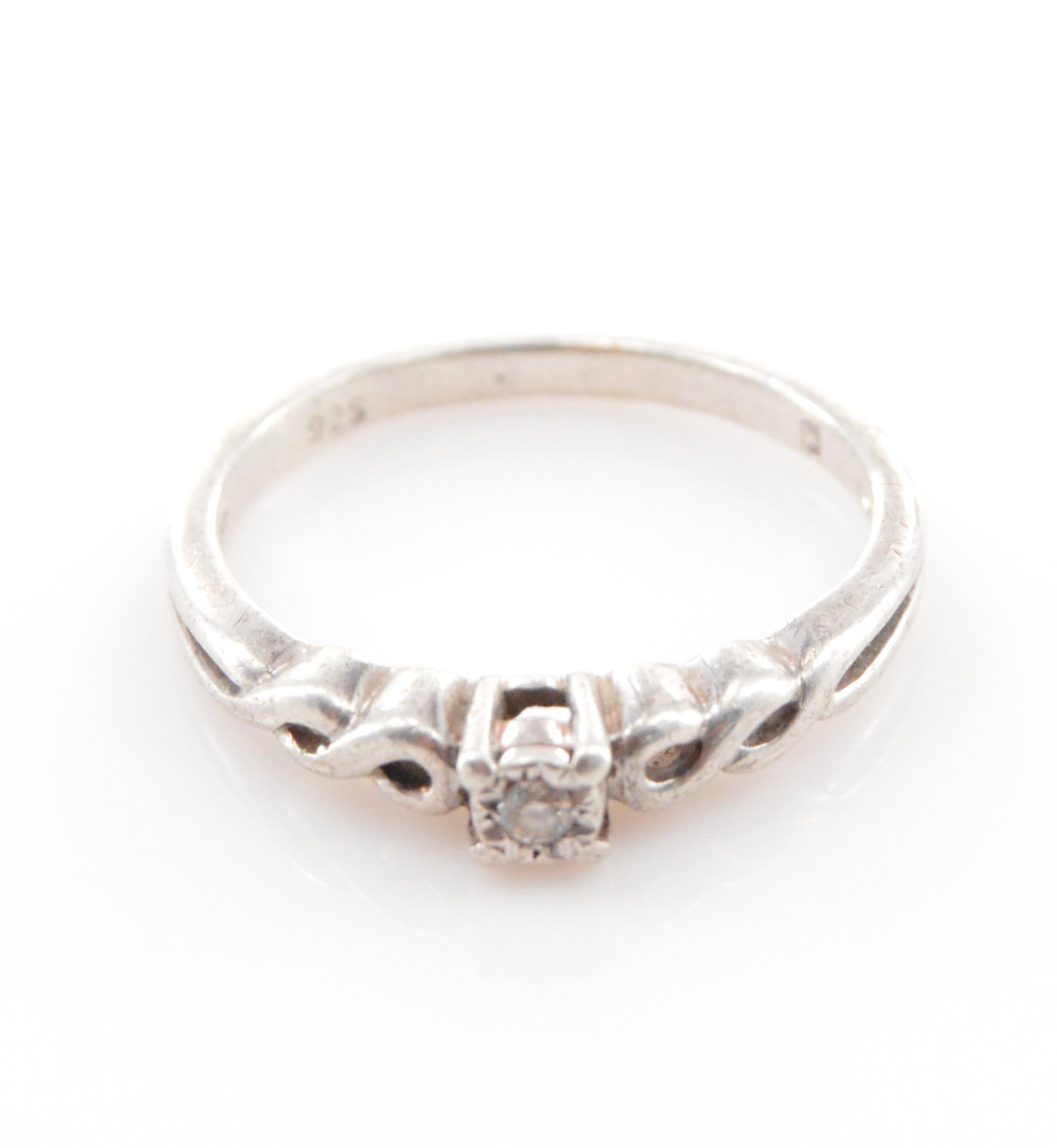 Solid Silver Petite Infinity Detail Diamond Promise Ring