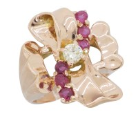 14K Rose Gold Diamond and Ruby Ring | Property Room
