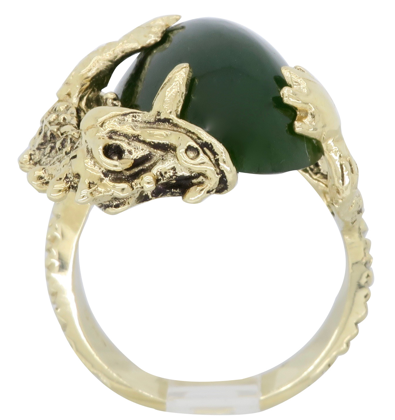 14K Yellow Gold Jade Ring  Property Room