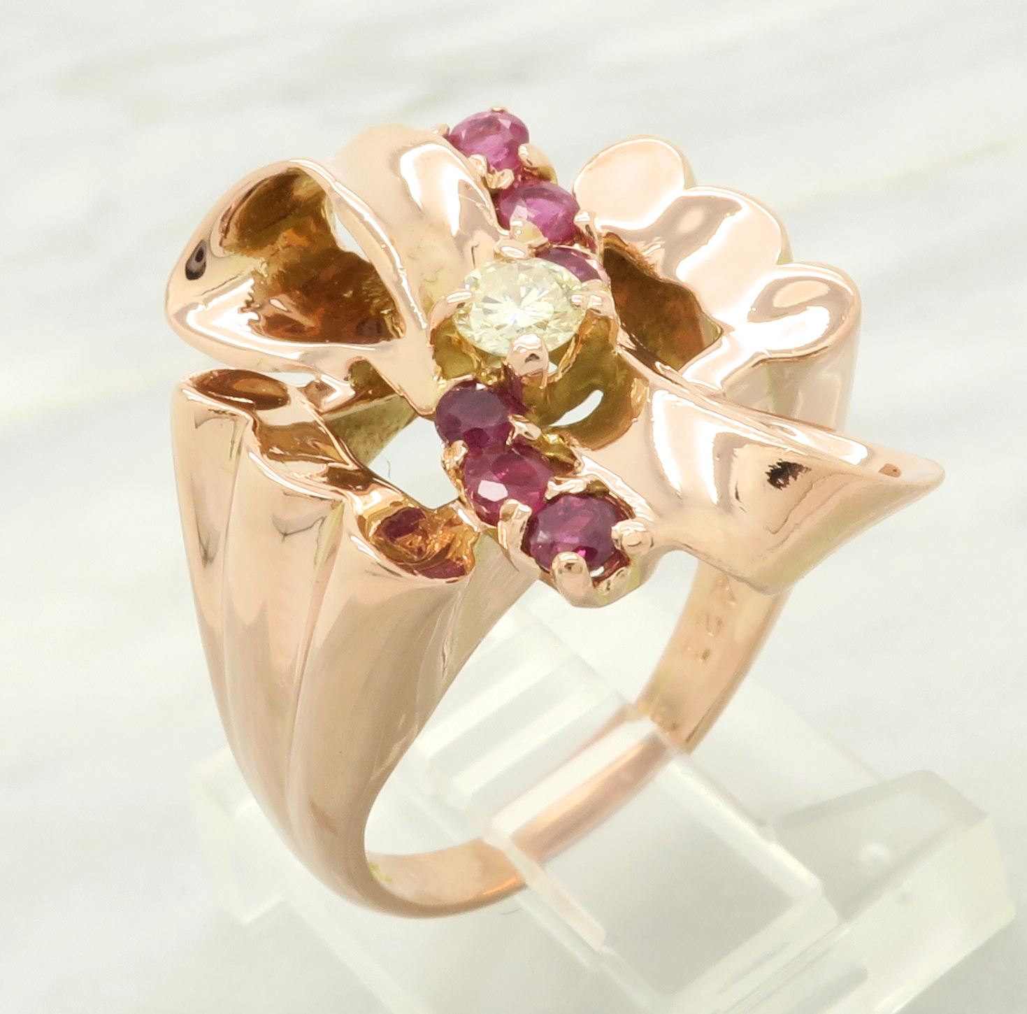 14K Rose Gold Diamond and Ruby Ring