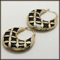 Solid 14k Yellow Gold, Black Onyx Hoop Earrings | Property ...