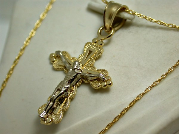 Solid 10k Yellow & White Gold Cross Necklace Property Room