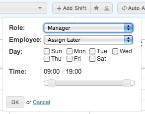 Employee Scheduling Software - Choosing a role for the shift