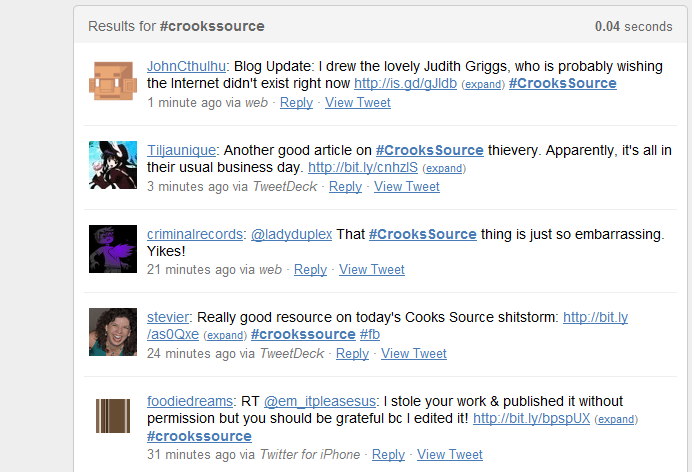 Twitter Coverage of #crookssource