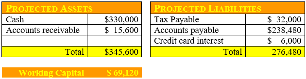 Working Capital sample result