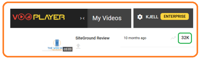 VooPlayer views SiteGround video