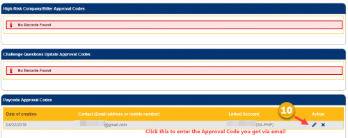 paycode approval code section