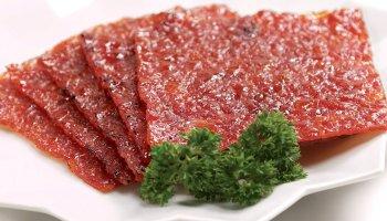 Pork bak kwa slices ready to eat in Singapore