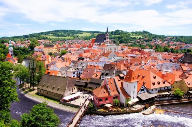 View across Český Krumlov, Czech Republic