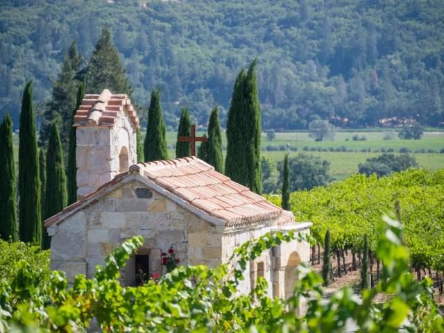 View of chapel in Napa Valley vineyard