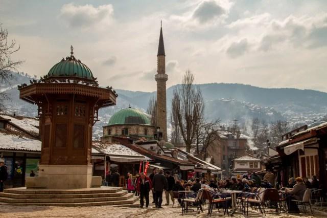 The Sebilj wooden fountain in Sarajevo Old Town