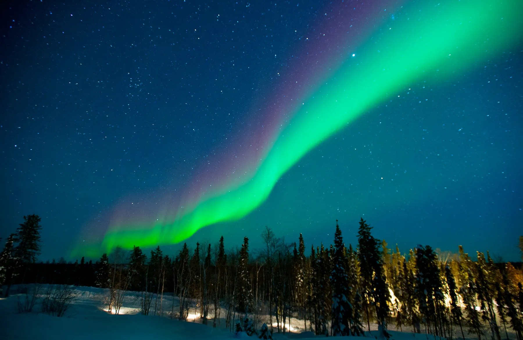 Rainbow Northern Lights in Yellowknife, Canada