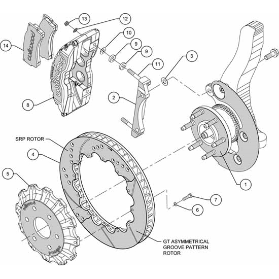 Wilwood 140-9072-DR TC6R 16 Inch Front Brake Kit, 2004-08