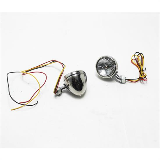 1933-34 Ford Stainless Steel 12 Volt Cowl Lights, 2-1/2 Inch