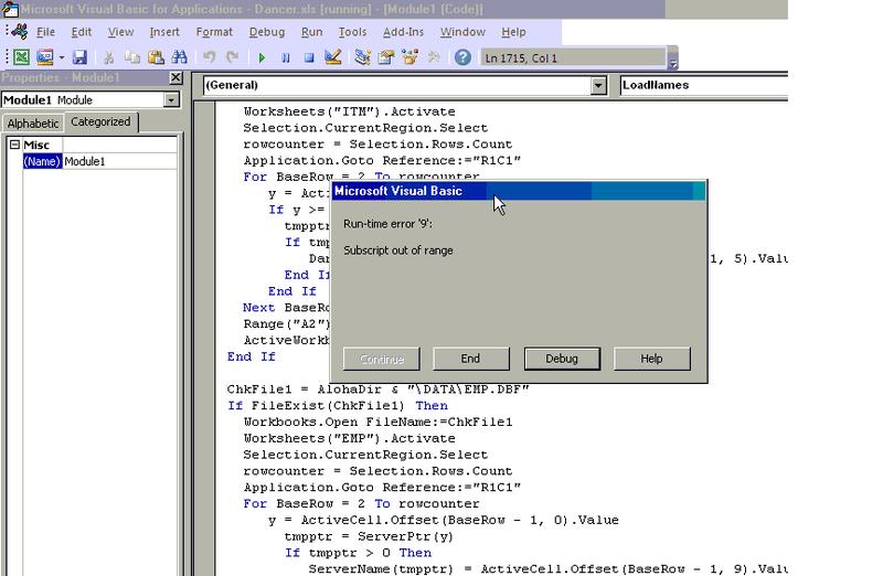 Visual Basic: Runtime error 9 - IT Programming - Spiceworks