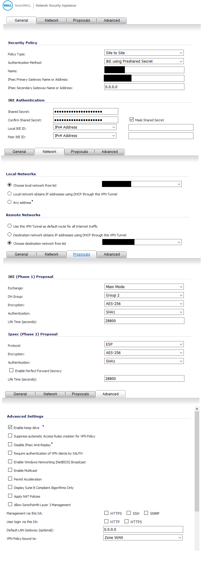 Site-to-Site VPN from TZ300 to UniFi Security Gateway 3P