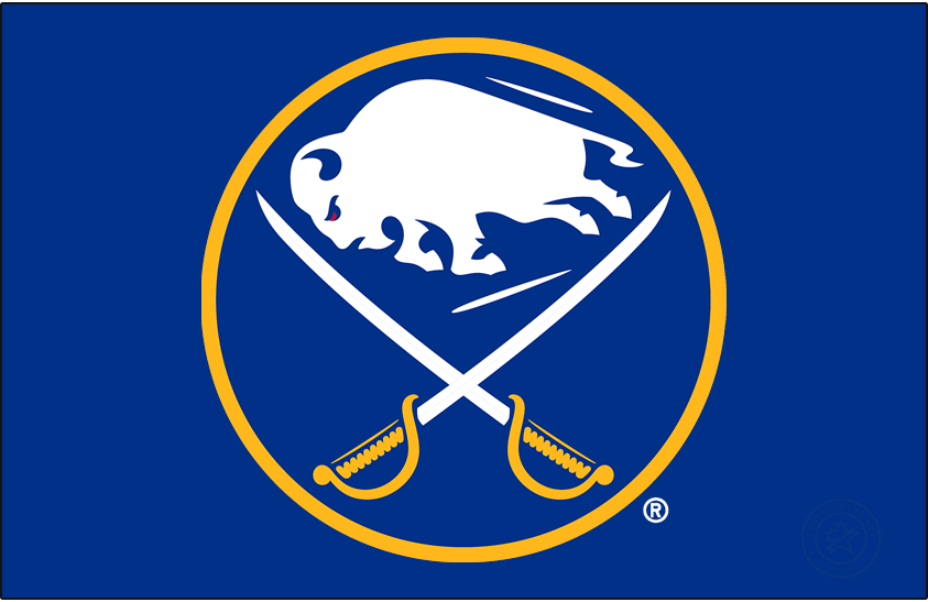 Buffalo Sabres Logo Primary Dark Logo (2020/21-Pres) - The Buffalo Sabres logo (shown here on a royal blue background) features a white buffalo, a symbol of good luck, leaping in between two crossed sabres on a royal blue circle trimmed in gold. The Sabres first adopted this style of logo for their expansion 1970-71 season, the version seen here was modified for the 2020-21 season. Differences between this and the original include the elimination of the ear from the buffalo as well more edges on each of its legs and hooves. SportsLogos.Net