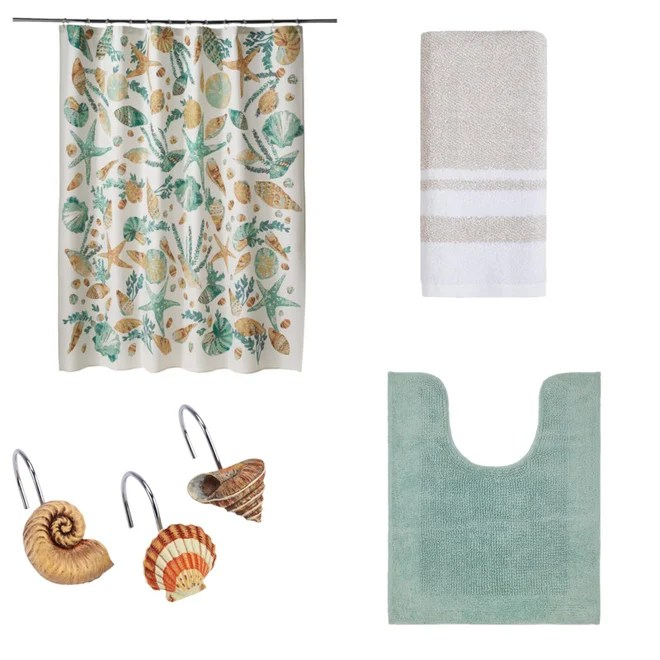 sonoma goods for life coastal printed shell shower curtain